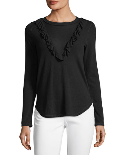 Sylvie Jersey Feather-Rib Ruffle Top