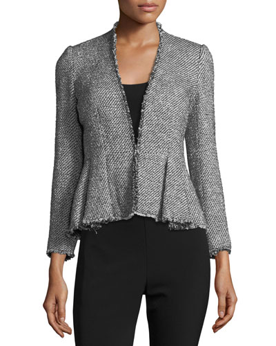 Metallic Tweed Peplum Jacket