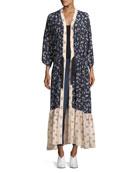 Mariana Floral-Print Silk Cardigan Duster