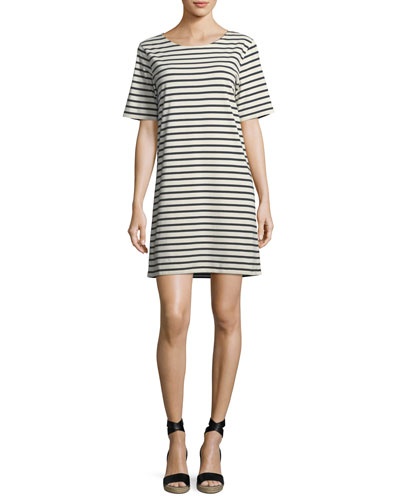 Crewneck Short-Sleeve Striped Tee Dress