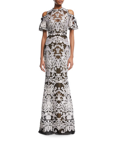 Cold-Shoulder Guipure Floor-Length Gown