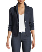Royal Striped Cotton-Blend Two-Button Jacket