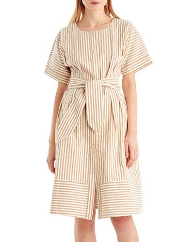 Vintage Striped Linen-Blend Dress