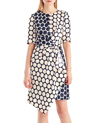 Twist-Front Dot-Print Silk Dress