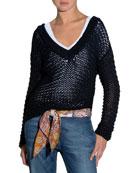 Hand-Knit V-Neck Sweater