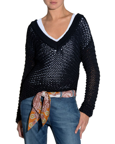 Hand-Knit V-Neck Sweater