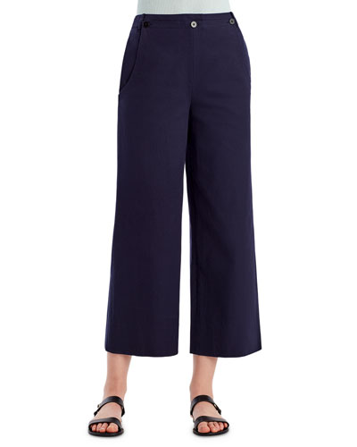 Stretch-Twill Wide-Leg Sailor Pants