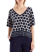Polka-Dot Short-Sleeve Knit Top