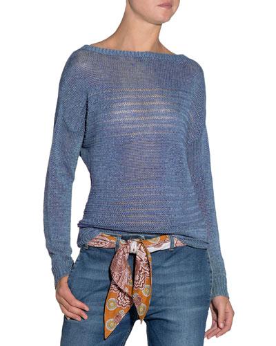 Stripe-Knit Linen Sweater