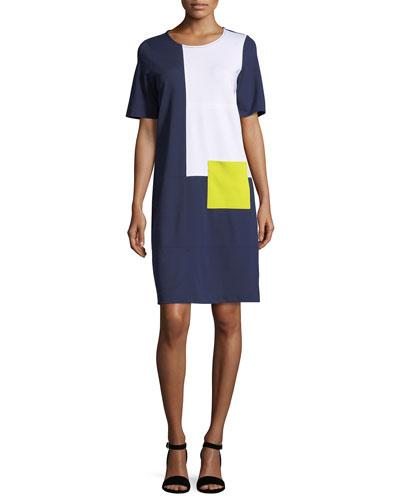 Colorblock Short-Sleeve Pocket Dress
