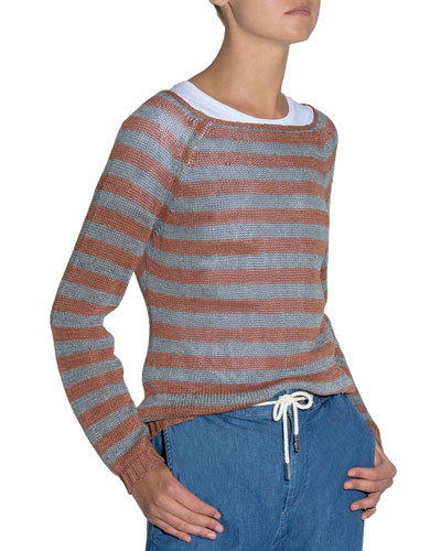 Striped Wide-Neck Linen Sweater