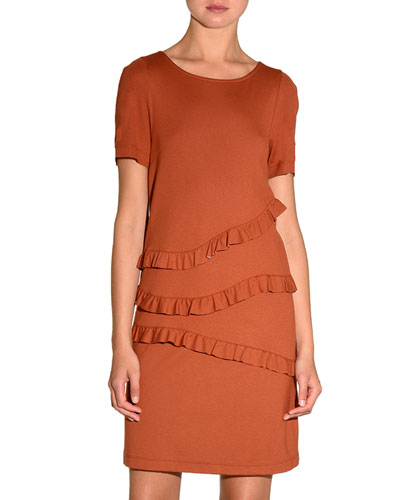 Ruffled-Front Jersey Shift Dress