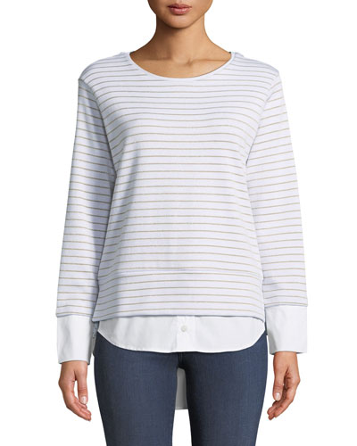 Metallic-Striped Jersey Pullover Sweater with Shirttail