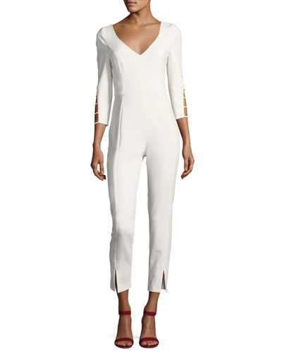 Rizzo Cutout Long-Sleeve Cropped Jumpsuit