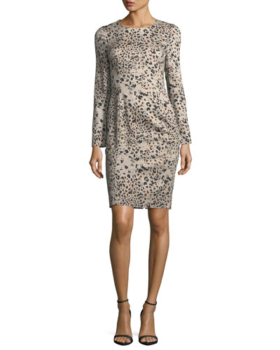 Lively Long-Sleeve Animal-Print Dress
