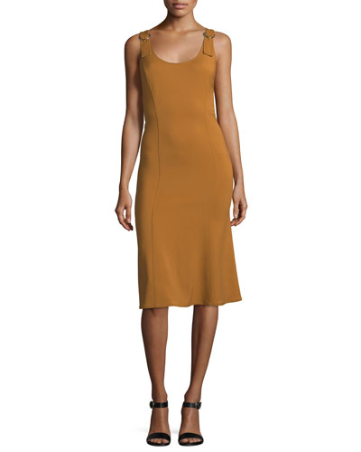 Sander Scoop-Neck Sleeveless Fitted Midi Dress