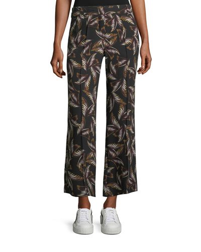Felix Wide-Leg Printed Silk Ankle Pants