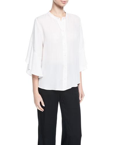 Lennon Button-Front Silk Blouse