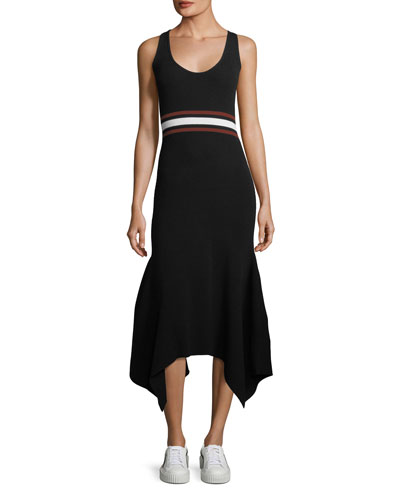 Anders Scoop-Neck Sleeveless Fitted Handkerchief-Hem Dress