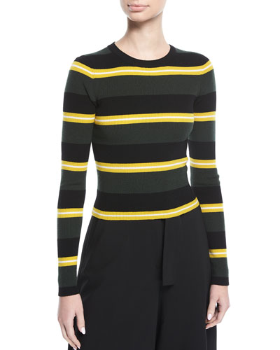 Shea Crewneck Striped Knit Sweater