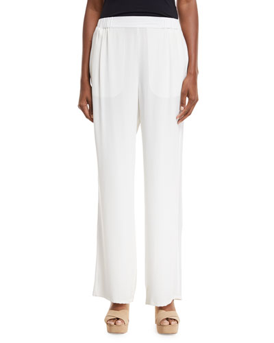 Silk Crepe Easy Contrast-Trim Pants, Petite
