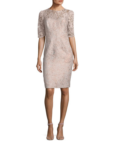 Lace Illusion Half-Sleeve Cocktail Dress