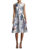 Sleeveless Floral-Print Taffeta Cocktail Dress