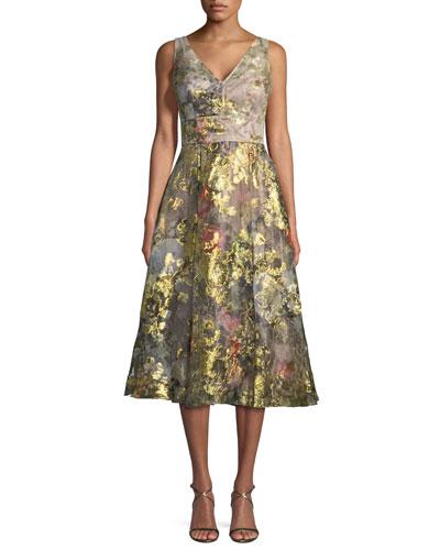 Floral V-Neck A-Line Midi Cocktail Dress