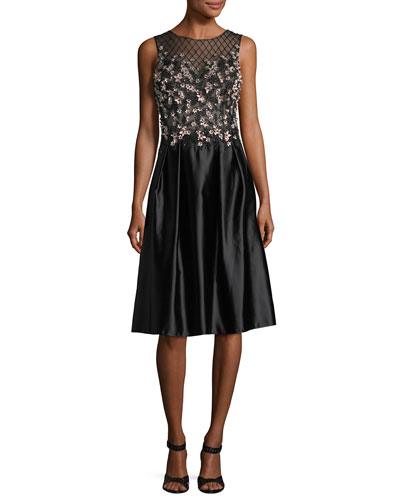 Sleeveless 3D Floral Lattice Cocktail Dress