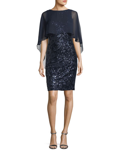 Sequined Capelet Cocktail Sheath Dress