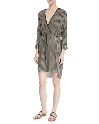 Stripe-Print V-Neck Self-Tie Kaftan Dress