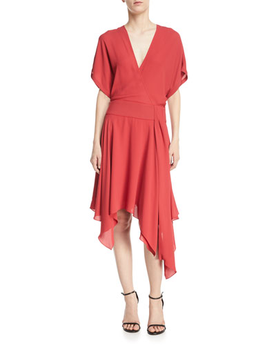 Kimono Asymmetric V-Neck Wrap Dress
