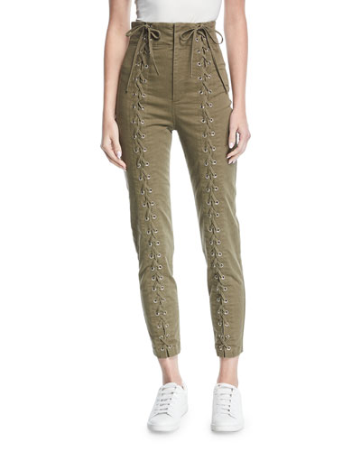 Kingsley High-Waist Lace-Up Skinny-Leg Pants