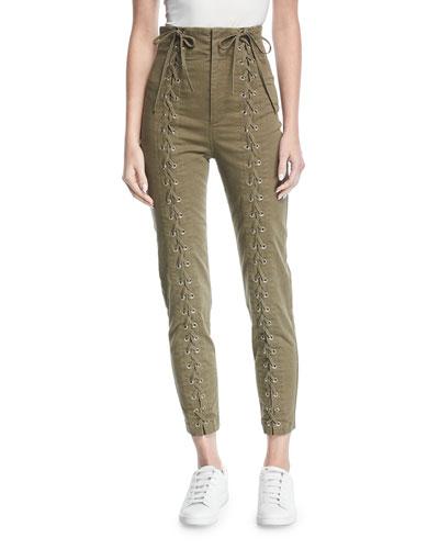 Kingsley High-Waist Lace-Up Skinny Pants