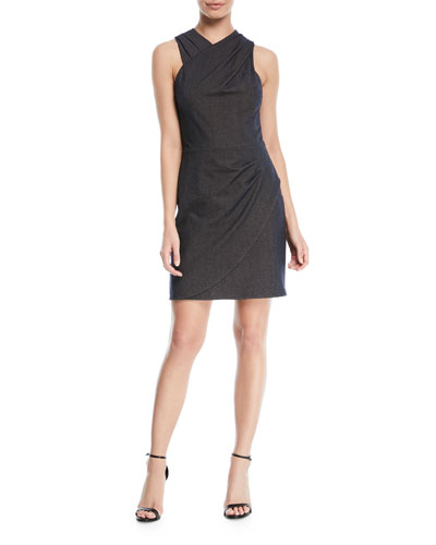 Wrapped Fitted-Draped Sleeveless Mini Dress