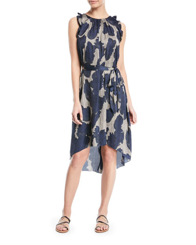 Printed Sleeveless Self-Tie High-Low Dress