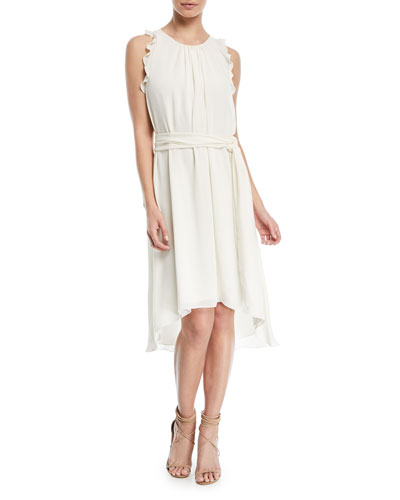 Self-Tie High-Low Sleeveless Dress