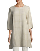 Organic Linen Plaid Tunic, Petite