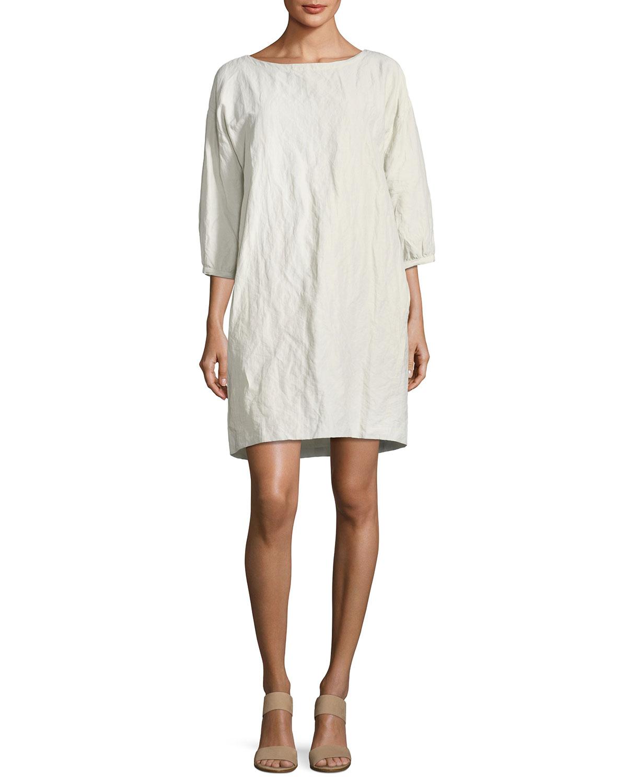 Textured Organic Cotton-Blend Shift Dress