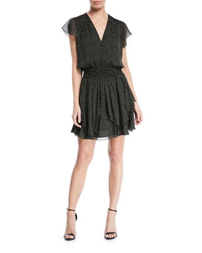 Chiffon Ruched Mini V-Neck Dress