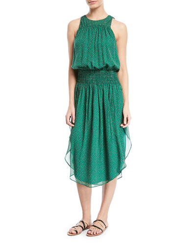 Printed Silk Ruched Sleeveless Dress