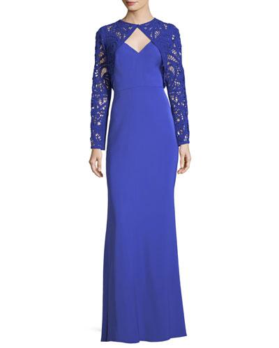 Long-Sleeve Lace Bolero Column Gown