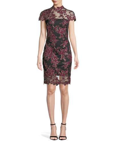 Lace Appliqué Cap-Sleeve Cocktail Dress