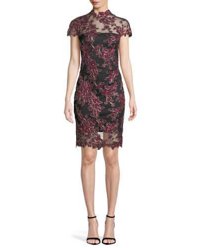 Lace Appliqué Cap-Sleeve Cocktail Dress