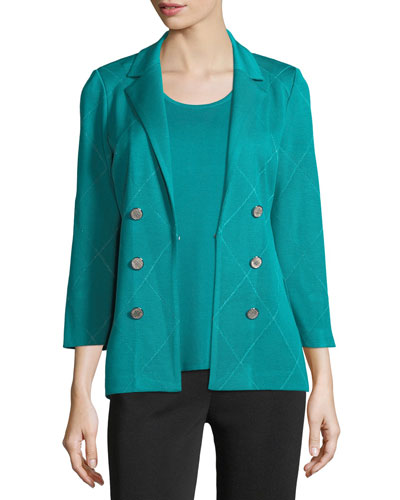 3-Button Diamond Jacquard Knit Jacket, Plus Size