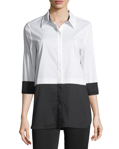 Classic Stretch Colorblock Blouse