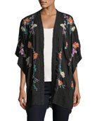 Classic Calla Embroidered Georgette Kimono, Plus Size