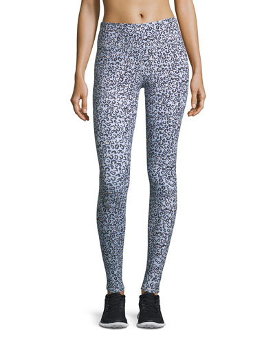 Cypress High-Waist Full-Length Leopard-Print Tights