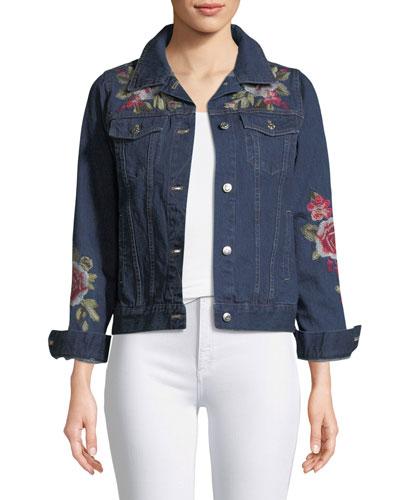 Desi Floral-Embroidered Denim Jacket, Petite