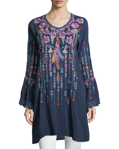 Lulu Embroidered Georgette Tunic, Petite